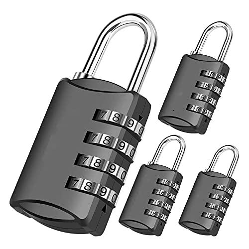 HDHUIXS 4 Paquete de bloqueo de combinación, cerraduras de equipaje reiniciables para mochila, gimnasio y escolar y armario de empleados, cerradura de viaje a prueba de intemperie para cerca, puerta d