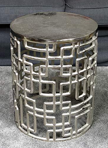 Couchtisch Modern, Wohnzimmertisch Sofatisch Beistelltisch Tisch aus Metall, Eisen Silber Rund Luxus 48 cm