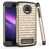 Moto Z2 Force Case, TILL Studded Rhinestone Crystal Bling Diamond Sparkly Luxury Shock Absorbing Hybrid Defender Rugged Glitter Cute Case Cover for Moto Z2 Force Edition/ Z2 Force Droid 2017- Gold