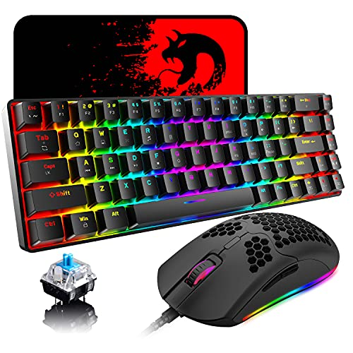 60% Mechanical Gaming Keyboard Mini 68 Keys Wired Type C 18 RGB Backlight Effects,Lightweight RGB 6400DPI Honeycomb Mouse,Large Mouse Pad Compatible with PS4,Xbox,PC,Laptop,MAC (Black/Blue Switch)