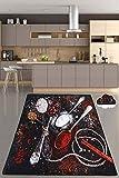 Miqna küchenteppich Moderne rutschfeste Sohle Gel Läufer waschbar schwarz (schwarz, 80 x 200 cm)
