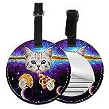 Universe Cat and Pizza - Etiquetas Redondas para Equipaje de Mano, diseño de Gato y Pizza, Negro (Negro) - 5063178177726