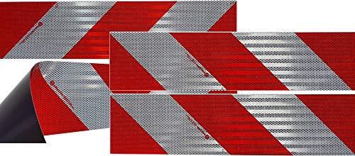 UvV® 3M Kfz Warnmarkierung für ein Kfz nach DIN 30710 Folie Typ 823i Komplettset mit 8 Normflächen (Rot-Weiß Magnet)