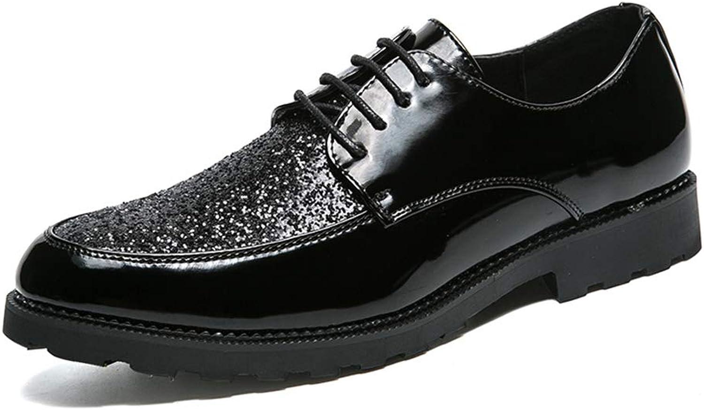 CHENDX Schuhe, Herrenmode Bright Leather Splicing Oxford Casual Persnlichkeit Lackleder Formelle Schuhe (Farbe   Schwarz, Gre   43 EU)