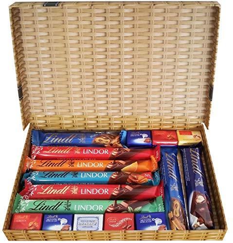 Lindt Premium Milk Chocolate Selection Gift Box | Assorted Lindor Bars, Napolitains, Nocciolatte Bar Hamper Present