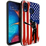CasesOnDeck Dual Layer Case Compatible with [Samsung Galaxy A20 / Samsung A30] [Embossed Duo] Dual Layer Corner Guard Case USA Flag Sports -Baseball