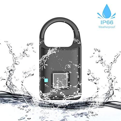 Tangxi Smart Security Hangslot met vingerafdruk, mini IP66, waterdicht, 360 graden duimafdruk, hangslot, ondersteuning via USB, oplaadbaar, diefstalvrij, sleutelloos Smart Security hangslot