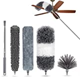 Microfiber Feather Duster 5 PCS, with 30 to 100 inches Extension Pole, LAZCOZY Reusable Bendable Washable Dusters for Cleaning Ceiling Fan, High Ceiling, Computer, Blinds, Furniture & Cars