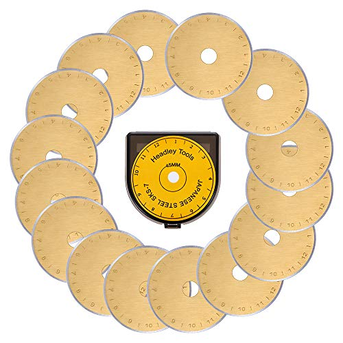 HEADLEY TOOLS Titanium Coated 45mm Rotary Cutter Blades 15 Pack Fits Olfa, Fiskars, Replacement Rotary Blade for Arts Crafts Quilting Scrapbooking Sewing, Sharp and Durable