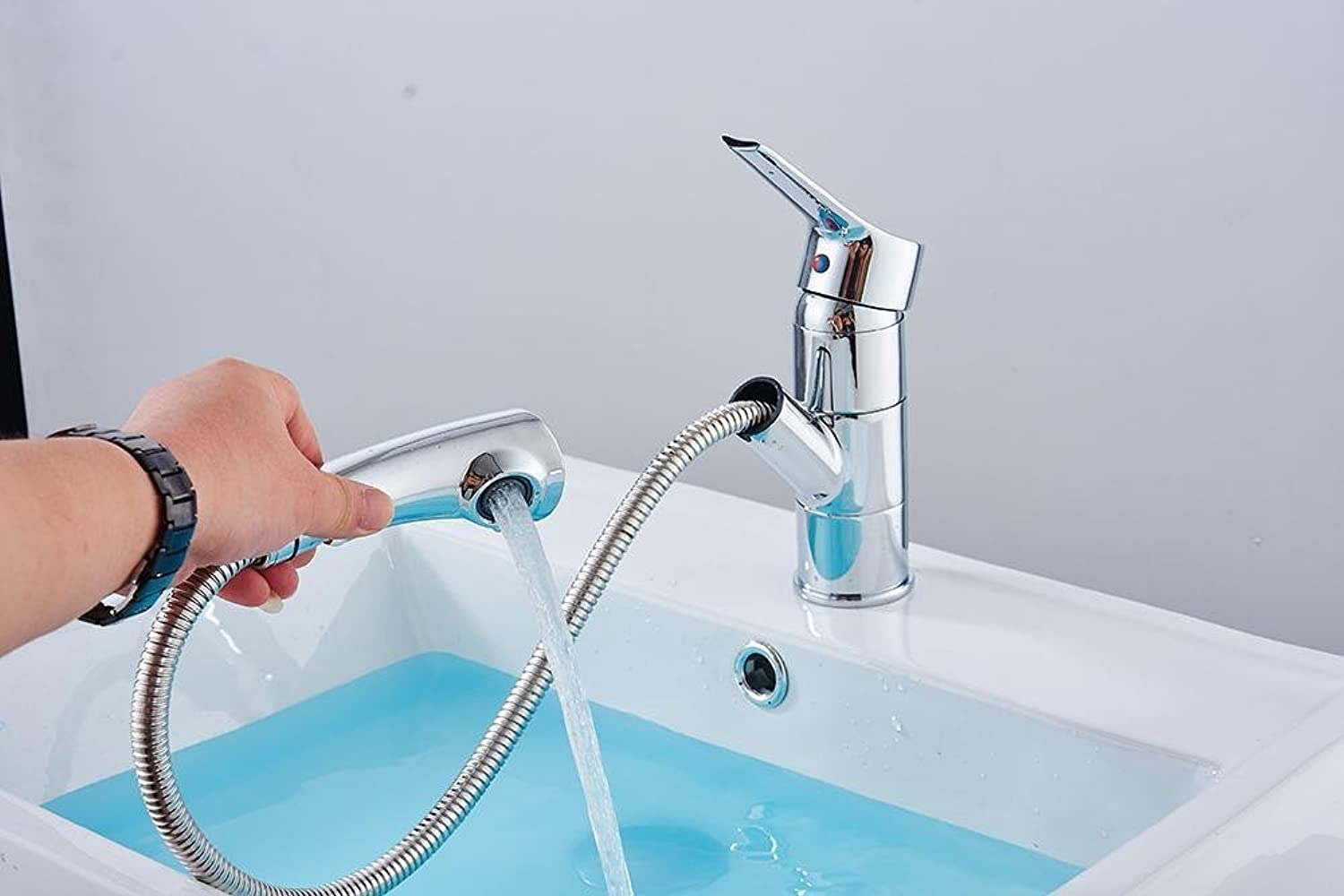 Full Copper Pull type Faucet Deck Mounted redatable Hot and Cold Mixing Water Kitchen Bathroom Sink Vegetable Wash Tap