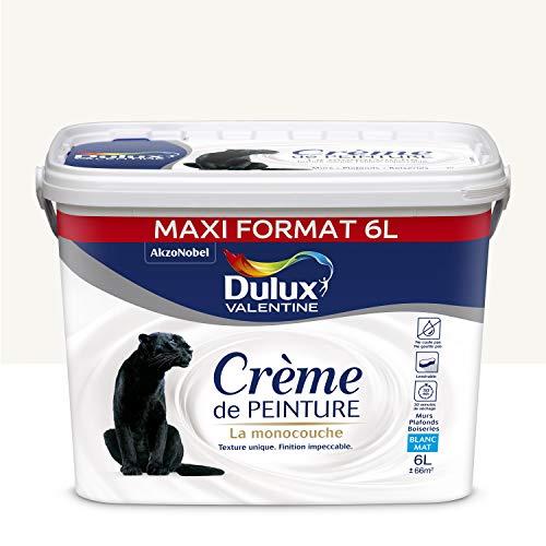 Dulux Valentine Crème de peinture - Murs, Plafonds, Boiseries - Mat Blanc 6L