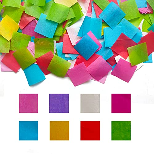 Tissue Paper Squares Misscrafts 5600 Pieces 1 Inch Confetti Multicolor 8 Assorted Colors for Arts Craft DIY Scrapbooking Scrunch