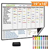 Magnetic Dry Erase Chore Chart for Multiple Kids and Adults: Fridge 16x19' - Includes 8 Whiteboard Markers and Eraser with Magnets - Daily Responsibility Rewards White Board for Toddlers or Teenagers