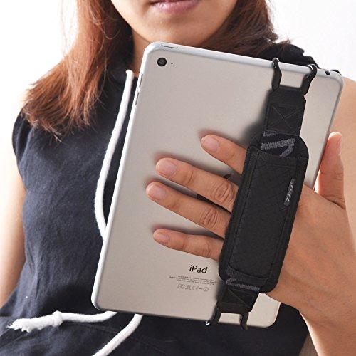 TFY - Supporto di sicurezza per tablet, iPad, Samsung Tab e altri tablet, con cinghia e ganci, da utilizzare sulla mano Nero