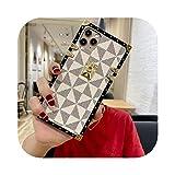 高級ブランドタイドショースクエアレザー電話ケースFOR iPhone 11プロマックスXR X XSマックス7 8プラスSE 2ラティス保護バックカバー-White lattice-FOR iPhone 7Plus