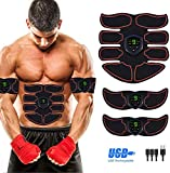 RIGRIN AB/EMS Muscle Stimulator with LCD Display, Muscle trainer, EMS Toning Belt. Home. Portable USB Rechargeable Abs Workout Equipment. Fitness Ab belt equipment