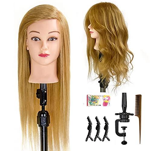 ISHOT Mannequin Head 24 inch 70% Real Human Hair Doll Head Salon Hair Training Head Practice Styling Manikin Cosmetology Doll Head Hairdressing Training Model