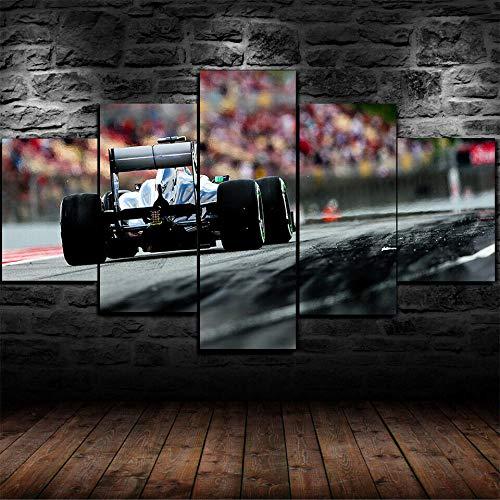 WJWORLD 5 stuks schilderijen decoratie woonkamer moderne decoratie huis vlies muurkunst geschenk GP Formule 1 Mercedes Spanje 30x40cmx2,30x60cmx2,30x80cmx1 Frameloos.