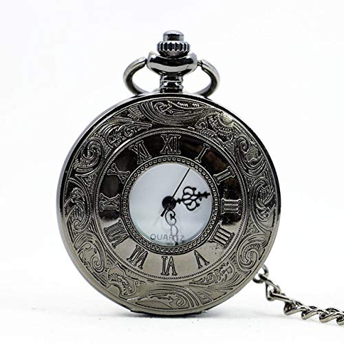 XVCHQIN Vintage Bronze Ste unk Pocket Watch Roman Numerals Quartz Necklace Pocket Fob Watches Chain Men Women Clock,Black White