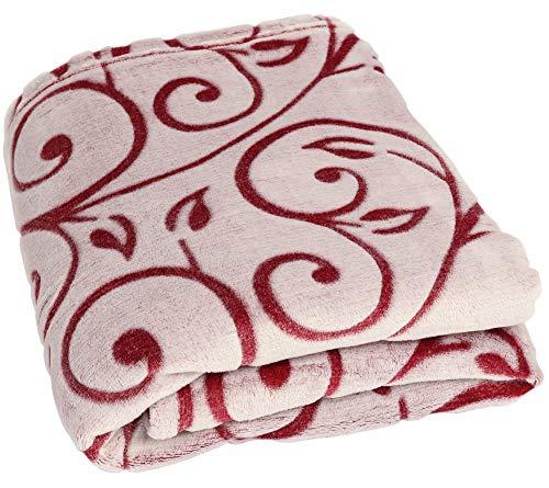 Betz Couverture très Douce à Ornaments Taille 140 x 190 cm Couleur Rouge