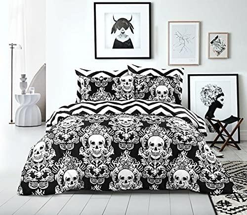 Bettbezug-Set mit Halloween-Totenkopf-Motiv, Fadenzahl 200, 100 % Baumwolle, wendbar, für Doppelbett, Super-King-Size-Bett
