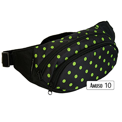 rawstyle amuso (Negro + puntos verde)–Bolso riñonera Jogging Angel Forro Fuga erei Riñonera Sport Nuevo