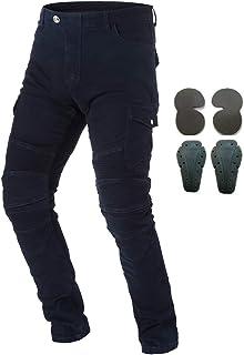 Pantalon de protection en jean pour hommes, pour moto, avec armure, 4 x protections dont genouillères et protège-hanches