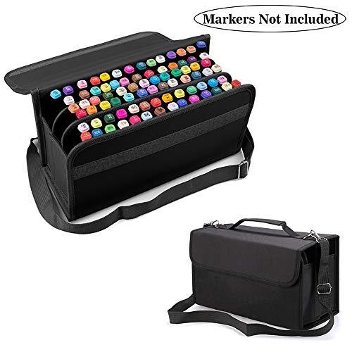 80 Orificios Plegables Gran Capacidad Marker Pen Bolsa, lona para Rotulador Pen almacenamiento duradero Marcadores de arte Boceto de resaltador líquido Organizador de herramientas(Negro 1)