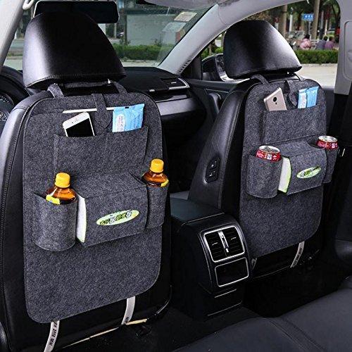 Meres Meres sac en feutre arrière auto sac de rangement de voyage - Organiseur de siège arrière pour voiture multi-poche Accessoires de voiture pour stocker des livres, Ipad, téléphone et parapluie (gris)