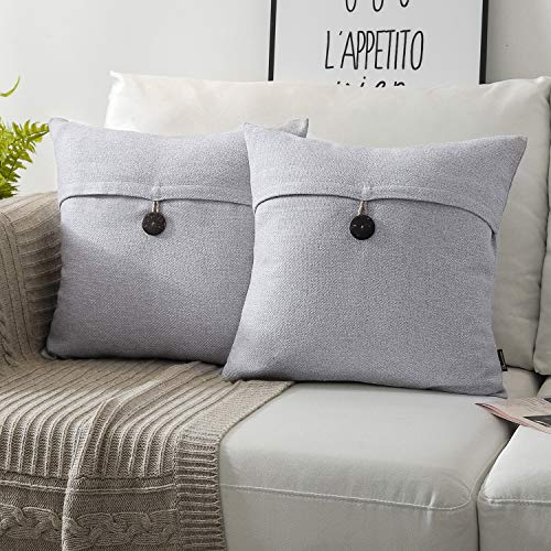 Phantoscope Pack of 2 Farmhouse Throw Pillow Covers Button Vintage Linen Decorative Pillow Cases for Couch Bed and Chair Light Grey 18 x 18 inches 45 x 45 cm