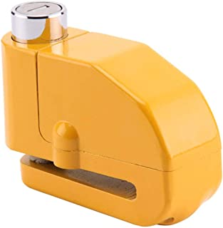 Yalehabi Anti Theft Motorcycle Alarm Disc Lock Brake Motorbike + Free Reminder Cable 1.5M Steering Wheel Lock, Yellow