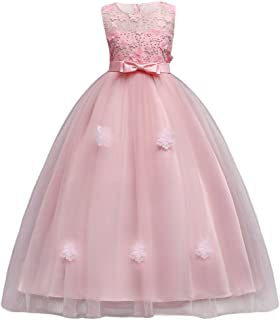 Little Big Girls'Tulle Retro Vintage Dresses Flower Lace Pageant Party Wedding Floor Length Dance Evening Gown