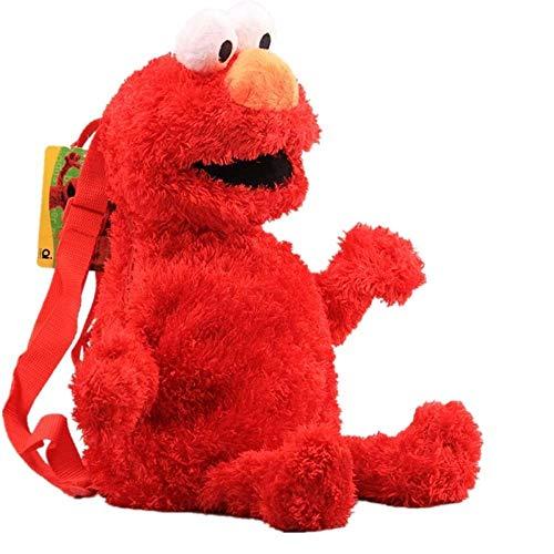 Plüsch-Rucksack Sesamstrasse Schultasche Cartoon Elmo Krümelmonster Big Bird gefüllt Rucksack 46 cm (rot)