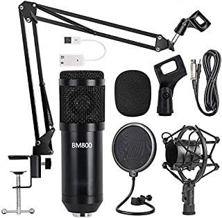 Condenser Microphone Kit, BM-800 Mic Set with Adjustable Mic Suspension Scissor Arm, Metal Shock Mount and Double-layer Po...