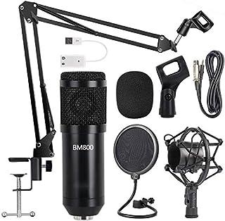 مجموعة ميكروفون بمكثف BM-800 مع بطاقة صوت وذراع على شكل مقص قابل للتعديل لتعليق الميكروفون، حامل للصدمات ومرشح صوتي مزدوج ...