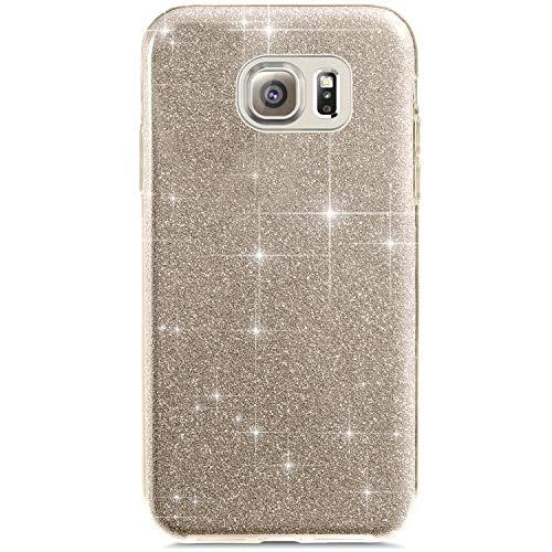 Uposao Custodia Compatibile con Samsung Galaxy S6 Edge Custodia Plastica Rigida Glitter Brillantini Lusso Cover Moda Tinta Unita Case Shock-Absorption Hard PC Custodia,Oro