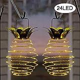 Guang Zhou Feng Solarlicht, Solar Lampe, Garten Dekoration Licht,LED Ananas Solar Terrasse Lichter,IPX4 wasserfest Freien beleuchtet Garten-Weg-hängende Lichter (2 PCS 24led)