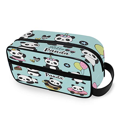 Cute Baby Panda Set Toiletry Bag Portable Borsa per cosmeticis Travel Makeup Bag Pouch Wash Gargle Bag Outdoor Toiletries Bag Organizer Cosmetic Travel Bag for Women Girls Men