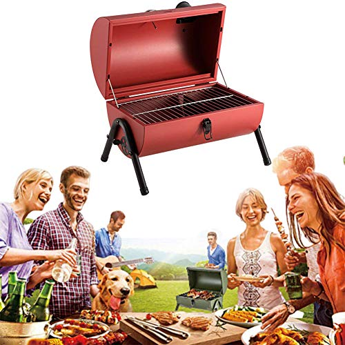 Outdoor Charcoal Barbecue Grill, Portable Buiten Klein Verdikte Carbon Grill met Pot Cover en thermometer voor Tuin Barbecue,Red