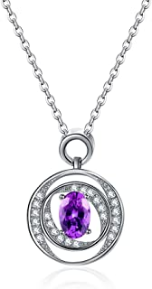 Women Necklace Ladies Amethyst Pendant Necklace- Sterling Silver (18 Inch Chain W/Open Tail Buckle), Jewelry For Women Pen...