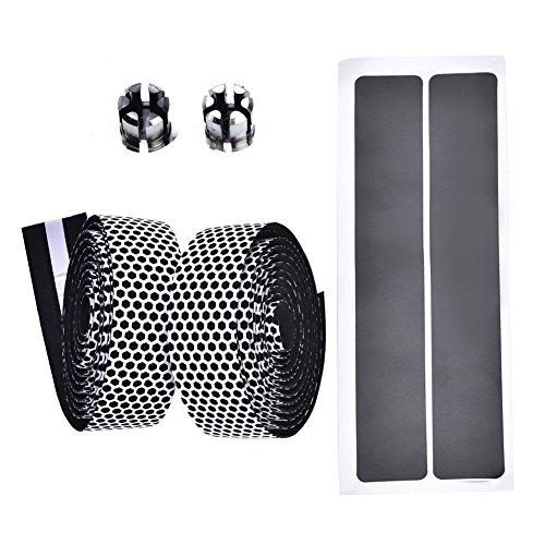 1 x paire de Bandes antidérapantes pour guidon de vélo, absorption des chocs, pour VTT, avec bouchon de ceinture, blanc