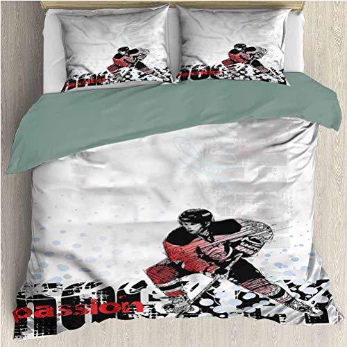 Hockey Comforter Bedding Set Full, 1 Print Duvet Cover 2 Pillowcases, Goalie Playing Artwork Hotel Bedding Set Comforter Cover for Any Bed Room Or Guest Room