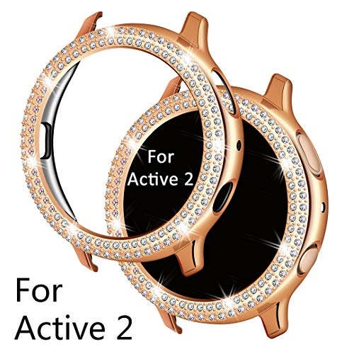 Falandi Schutzhülle für Samsung Galaxy Watch Active 2, Doulbe Reihen Bling Kristall Diamanten Platte, Silber Screen Protector Frame Protective Face Cover