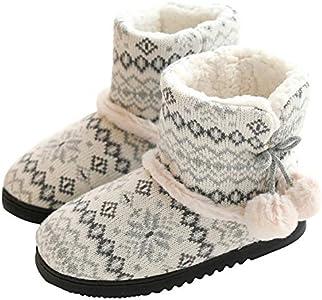 tqgold® Zapatillas de Estar por Casa Mujer Bota Pantuflas Cerradas Invierno Interior Antideslizante Suaves Peluche Bootie Gris Talla 35 36