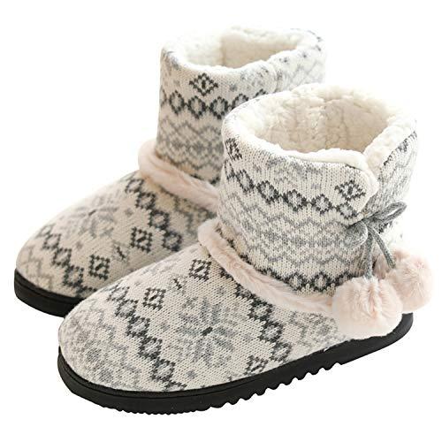 tqgold® Zapatillas de Estar por Casa Mujer Bota Pantuflas Cerradas Invierno Interior Antideslizante Suaves Peluche Bootie Gris Talla 37 38