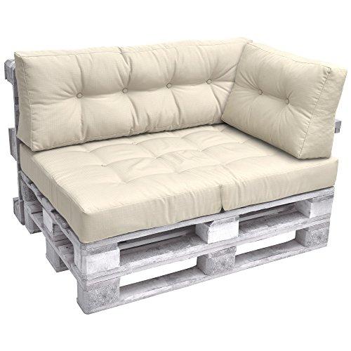 Beautissu Cuscino Laterale per Divano di Pallet Eco Elements 60x40x10-20cm - per divani con bancali di Legno - Beige