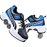 XFY Quad Roller Skates, 2 in 1 Parkour Shoes - Automatic Walking Shoes Detachable Pulley Skate - Fashion Sneakers Kids Skateboarding for Girls Boys Shoes,Blue,US: 4.5