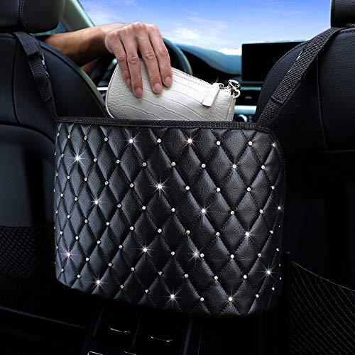 Car Net Pocket Handbag Holder, Leather Seat Back Organizer Large Capacity Bag, Organizer Hanging Storage Bag Between Car Seats (Quilting diamond)