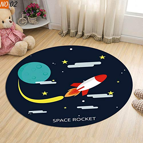 ZHEMAIE Alfombra Kid's Room Space Viajes Journal Drill Beyle Dibujos Animados Alfombra Alfombra No resbalón Silla Cojín Round Alfombra Piso de computadora Alfombras (Color : 02, Size : 120cm)