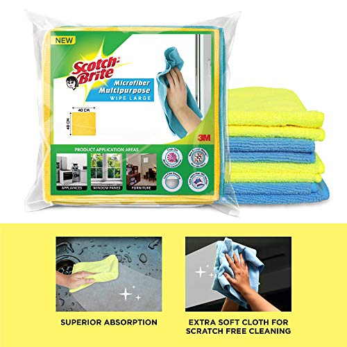 Scotch-Brite Microfiber Cloth/Wipe for Home, Kitchen, Appliance, Car cleaning pack of 4 pcs (40 cm x 40 cm, 340 GSM) ,Multicolor